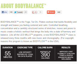 What the Les Mills website says about body balance