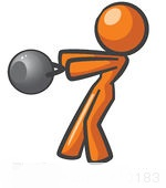 210183-Royalty-Free-RF-Clipart-Illustration-Of-An-Orange-Woman-Design-Mascot-Working-Out-With-A-Kettle-Bell
