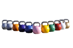 lots of pretty kettlebells all in a row!