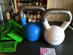 kettlebells and coffee